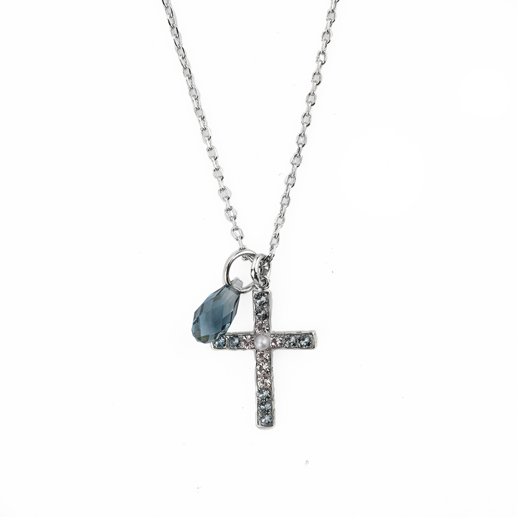 "Petite Cross Pendant in ""Blue Morpho"" *Preorder*"