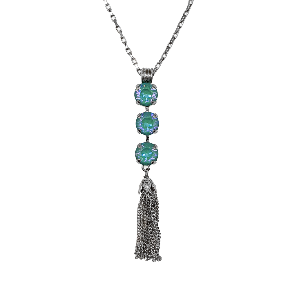 "Must-Have Three Stone Pendant with Tassel in Sun-Kissed ""Jade"" *Preorder*"
