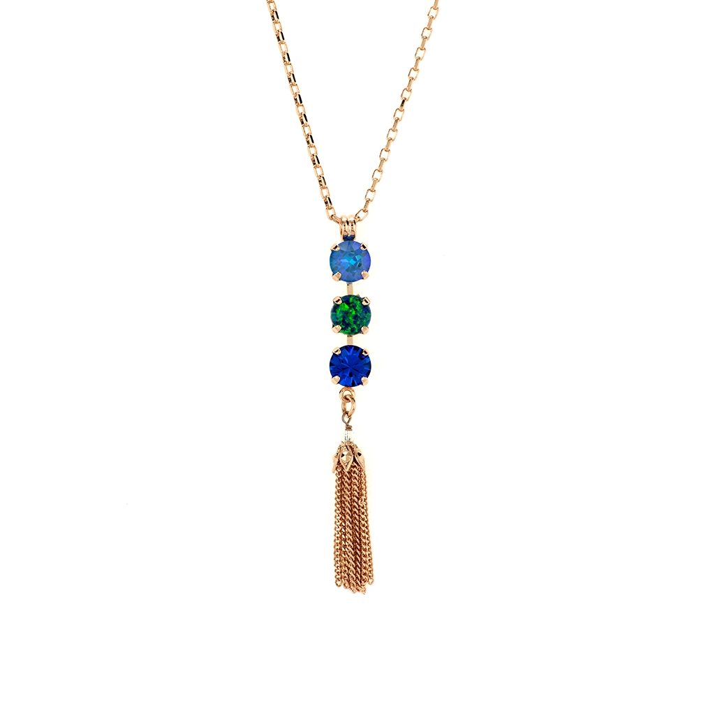 "Must-Have Three Stone Pendant with Tassel in ""Serenity"" *Preorder*"