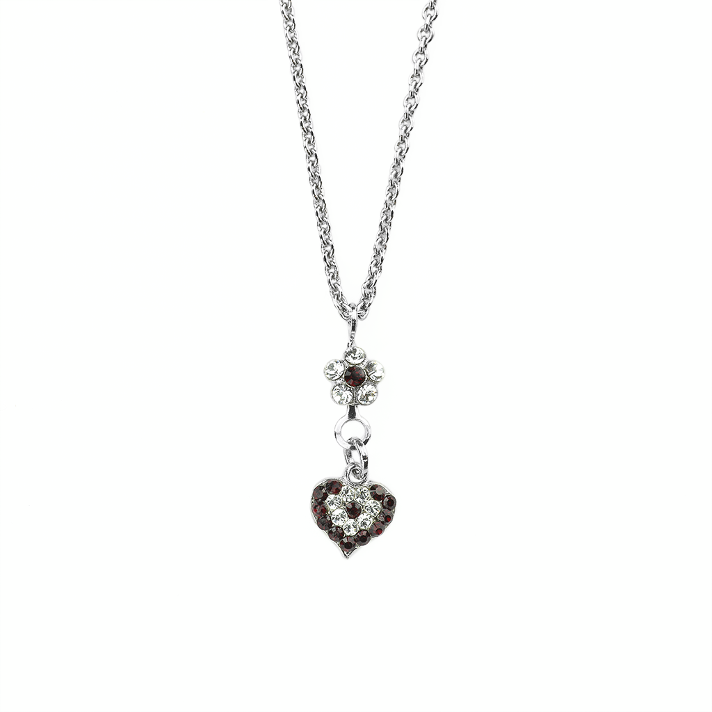 Flower Heart Pendant in Siam - Rhodium