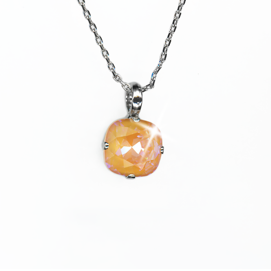 "Cushion Cut Pendant in Sun-Kissed ""Peach""- Rhodium"