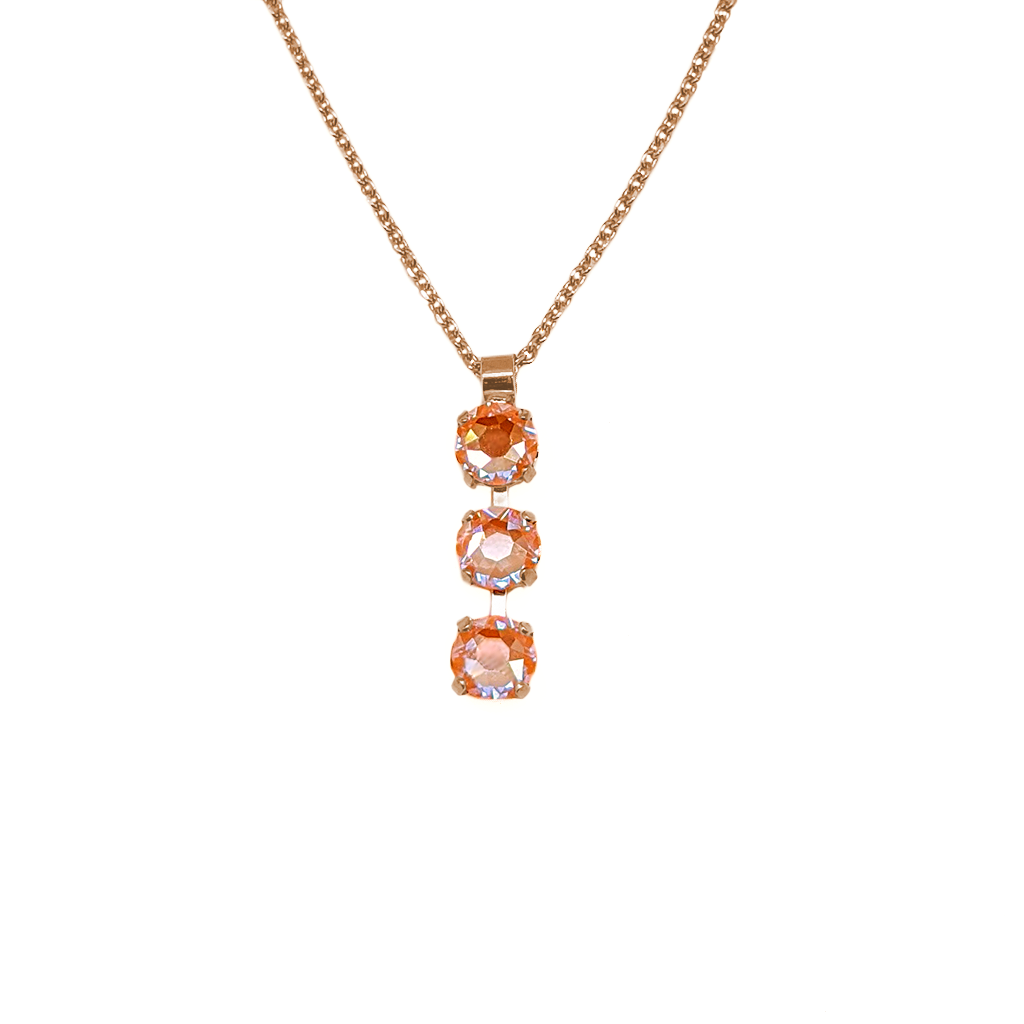 "Petite Three Stone Pendant in Sun-Kissed ""Peach"" *Preorder*"