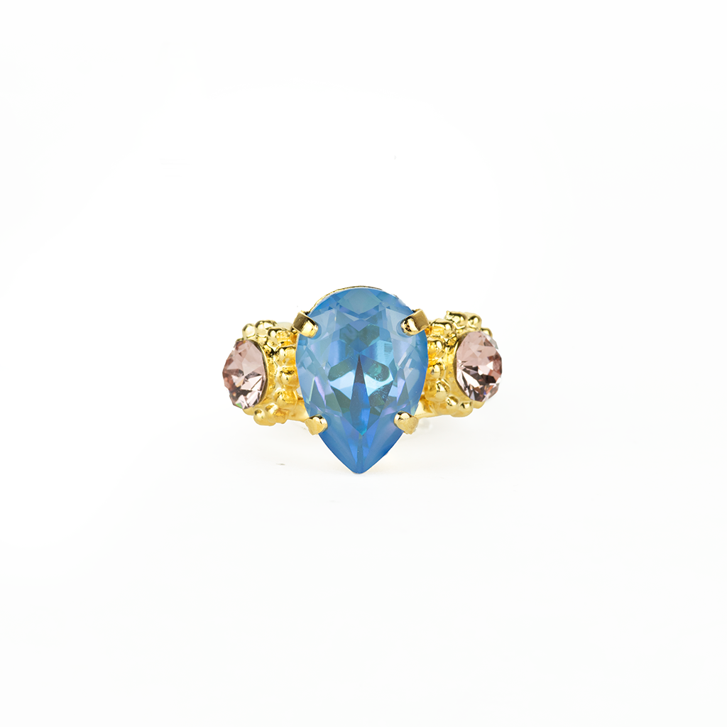 "*Preorder* Pear and Round Three Stone Ring in ""Blue Morpho"""