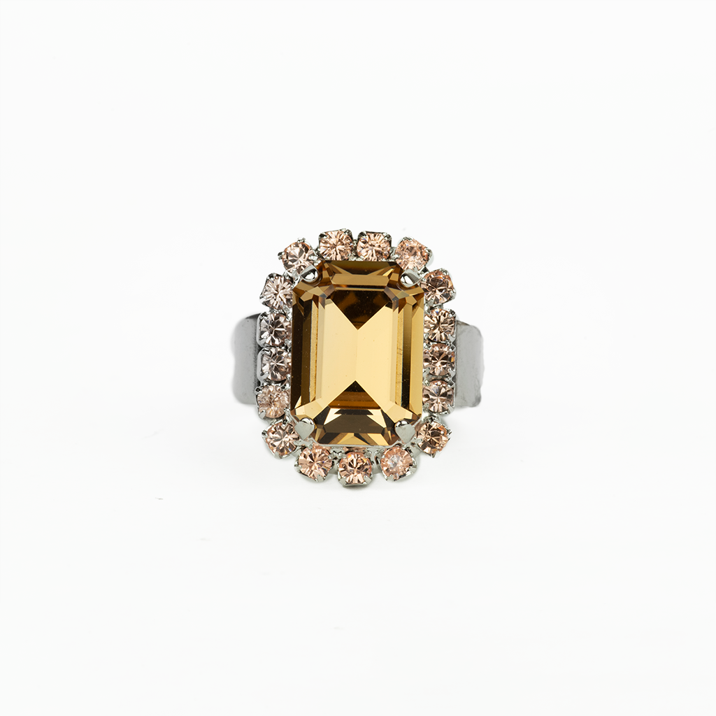 "Emerald Cut Cluster Adjustable Ring in ""Meadow Brown"" *Preorder*"