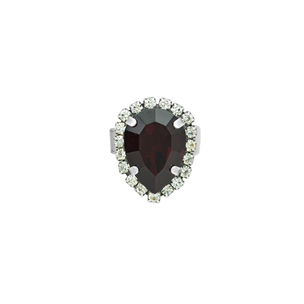 Pear Halo Adjustable Ring in Garnet - Antiqued Silver