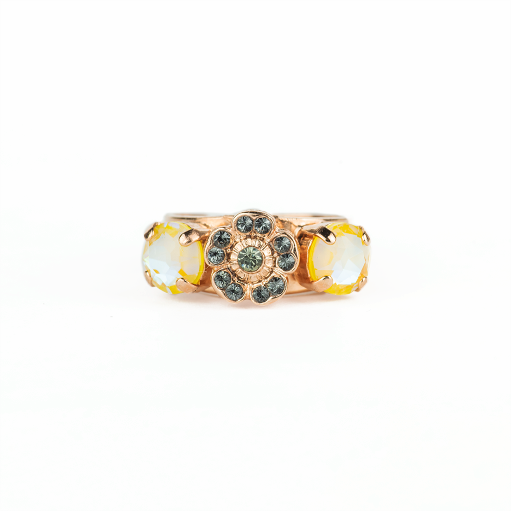 "*Preorder* Petite Three Stone Round and Flower Adjustable Ring in ""Painted Lady"""