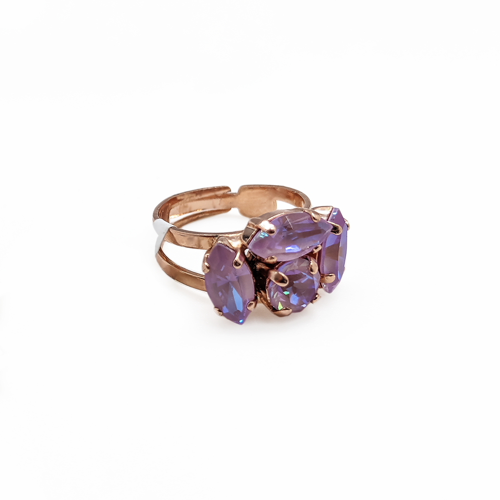 "Marquise and Round Adjustable Ring in Sun-Kissed ""Lavender"" - Rose Gold"