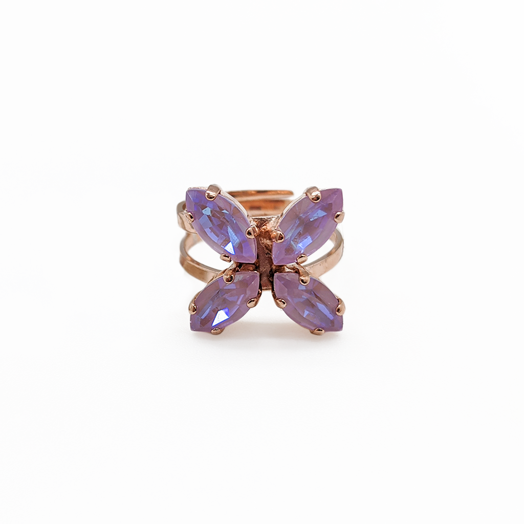 "*Preorder* Marquise Cross Adjustable Ring in Sun-Kissed ""Lavender"""
