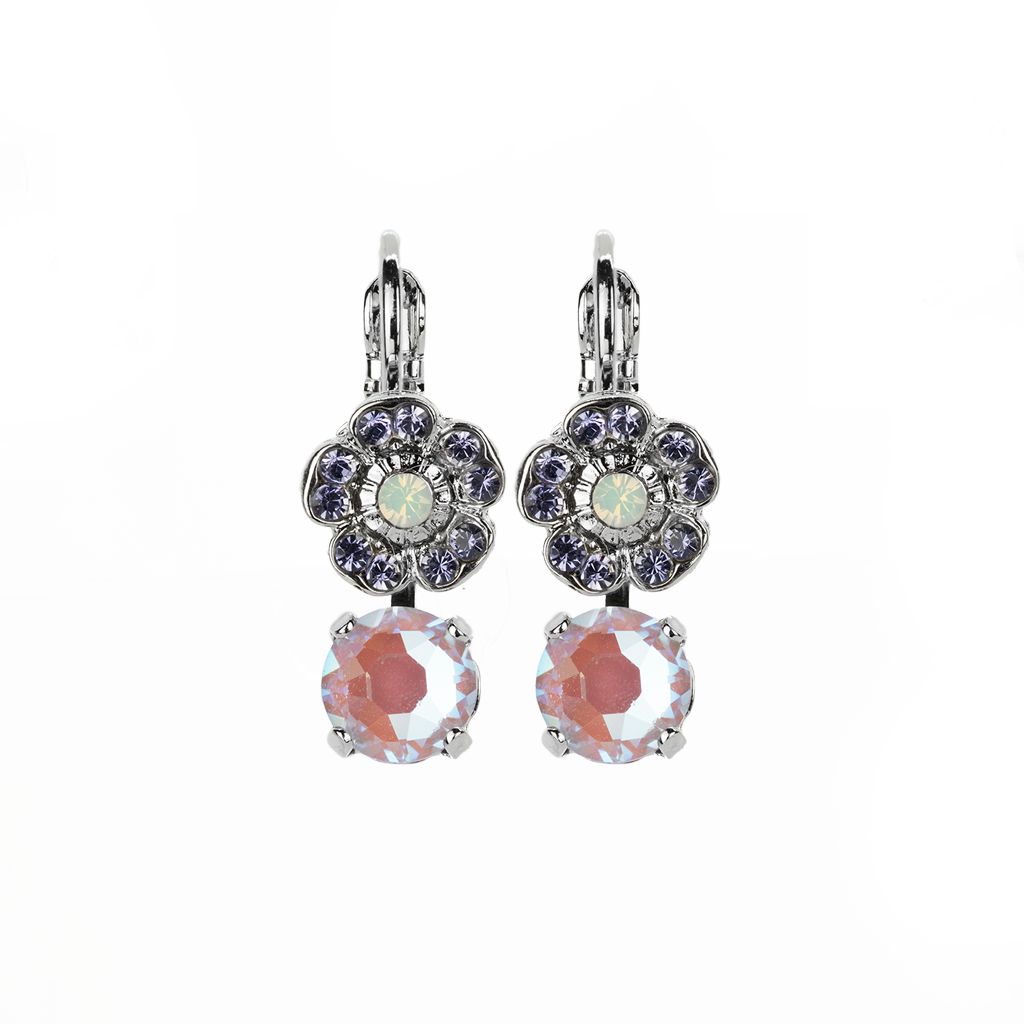 "Petite Double Stone Round and Flower Leverback Earrings in ""Travelara"" *Preorder*"