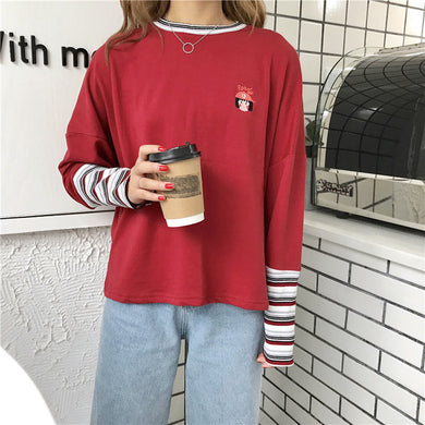 Korean Stripe Patchwork T Shirt