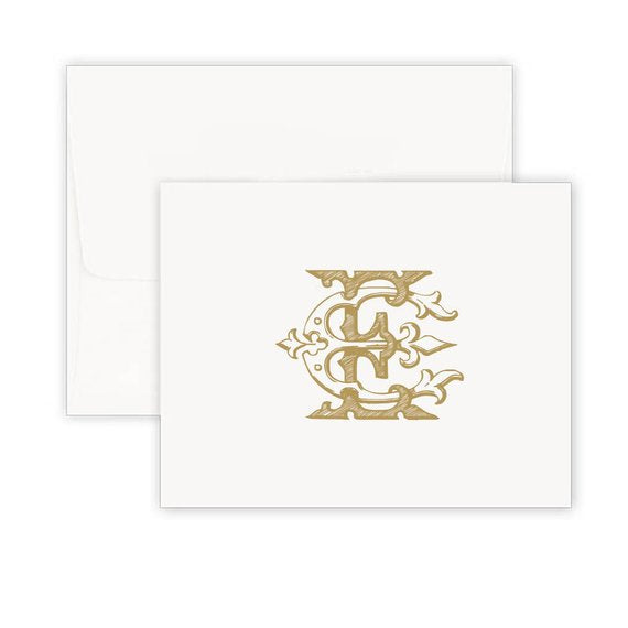 Vintage Golden Folded Note Cards