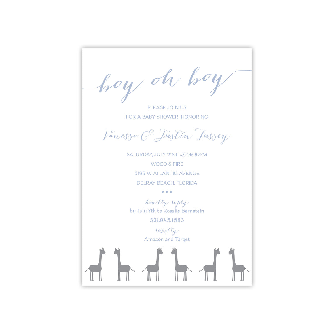 Boy oh Boy Blue Giraffe Baby Shower Invitation