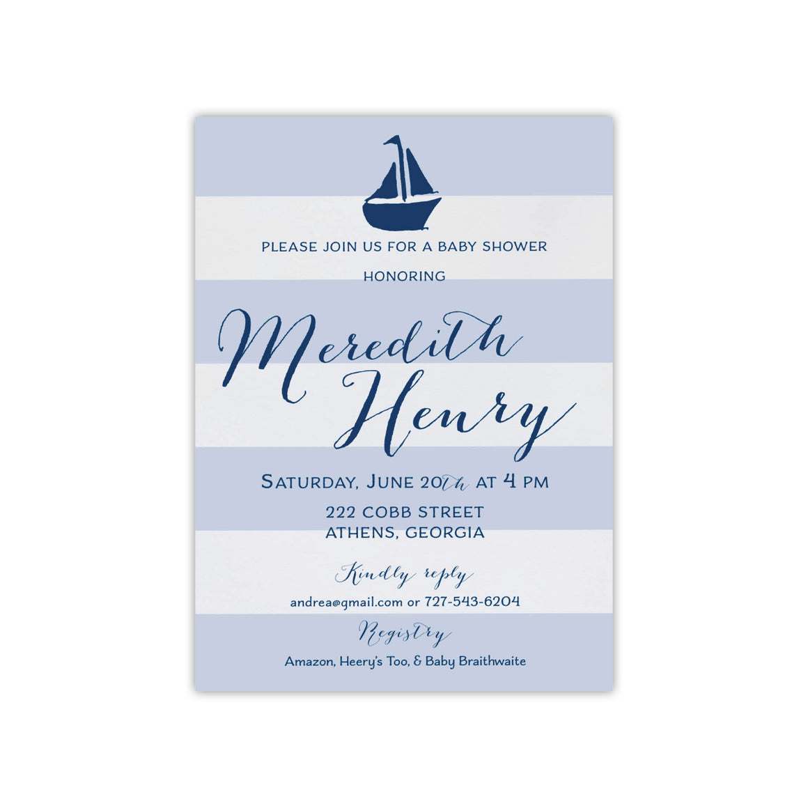 Sailboat and Stripes Baby Shower Invitation