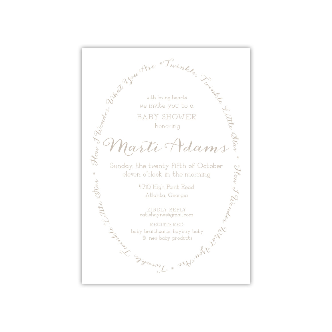 Oval Script Baby Shower Invitation
