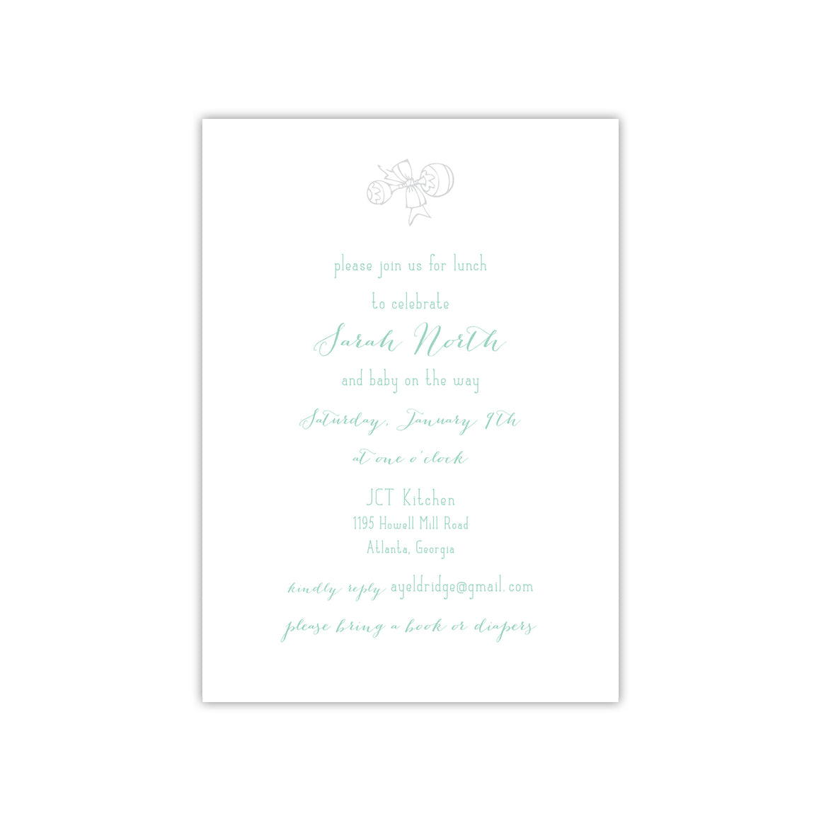 Shaker Baby Shower Invitation