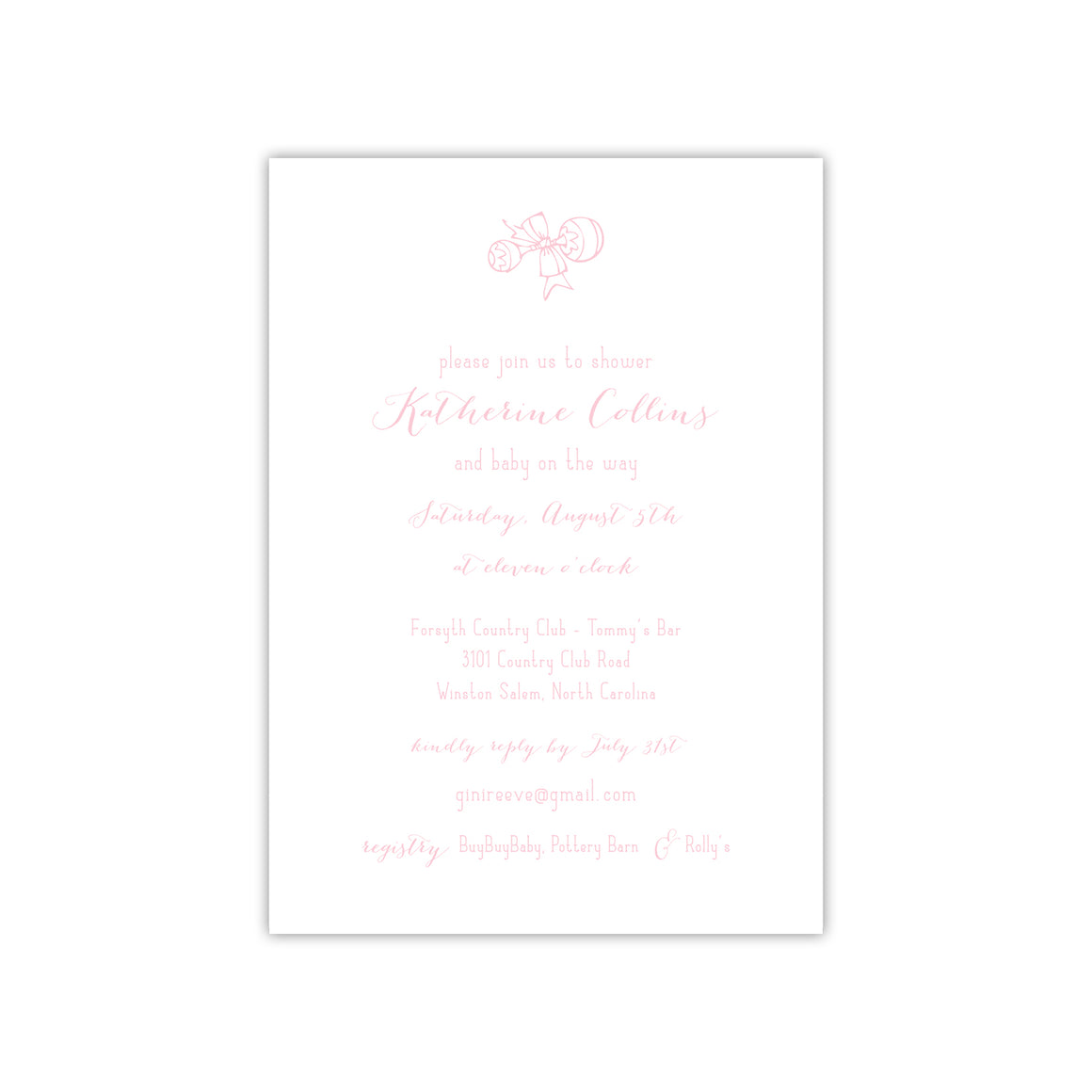 Pink Shaker Baby Shower Invitation