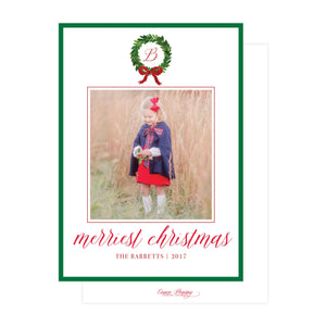 Watercolor  Evergreen Wreath Holiday Card