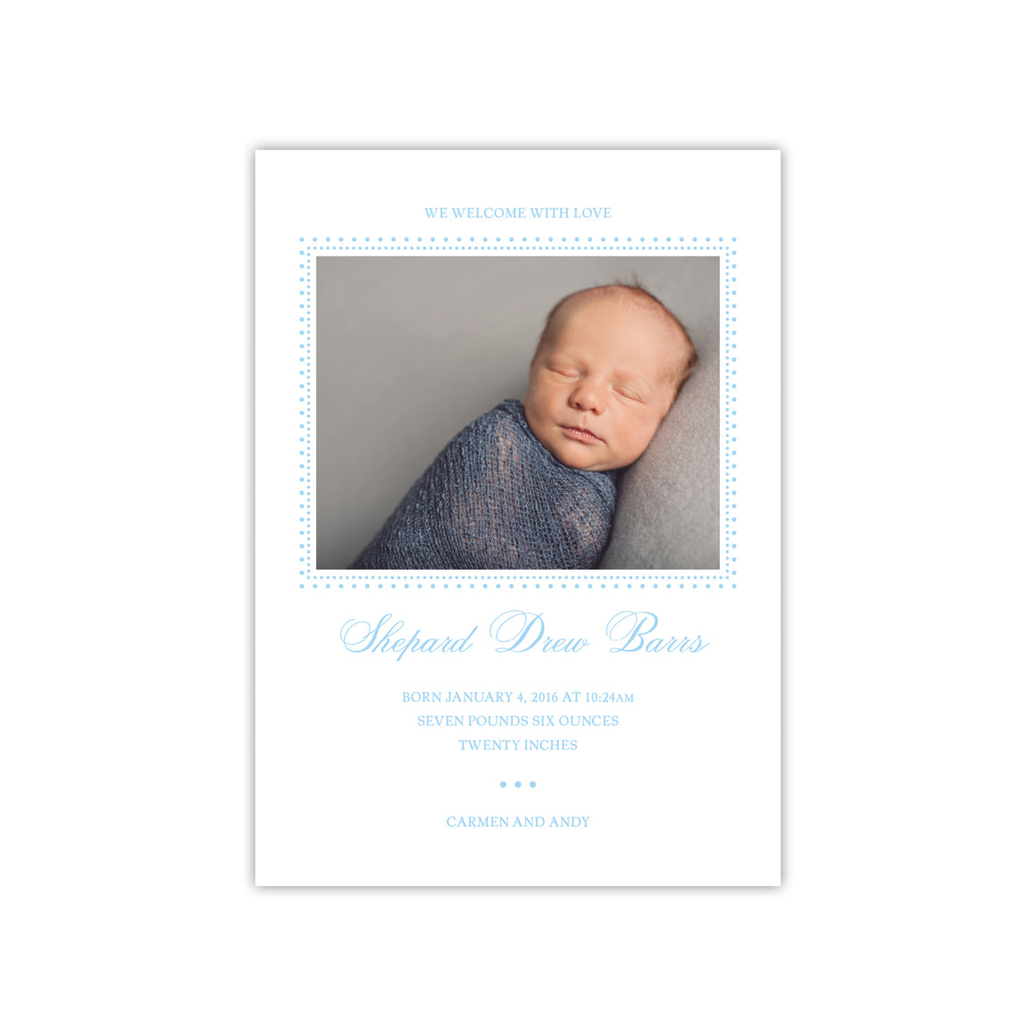 We Welcome with Love Birth Announcement