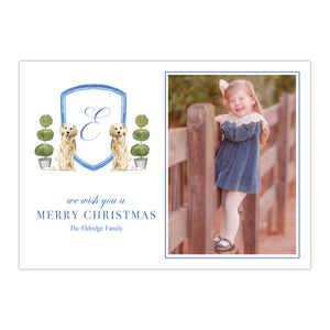 Retriever and Topiary Watercolor Crest Holiday Card
