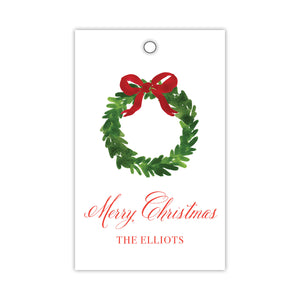 Wonderful Red Bow Wreath Gift Tags
