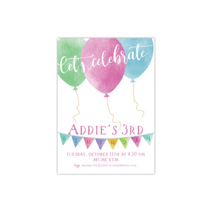 Let's Celebrate with Balloons Birthday Party Invitation