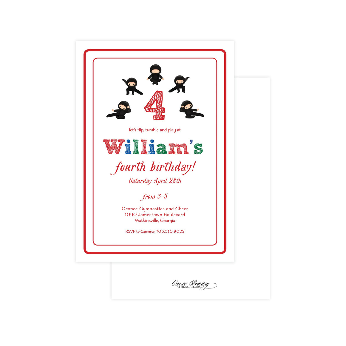 Little Ninjas Birthday Party Invitation
