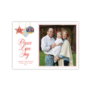 Peace Love Joy Ornaments Holiday Card