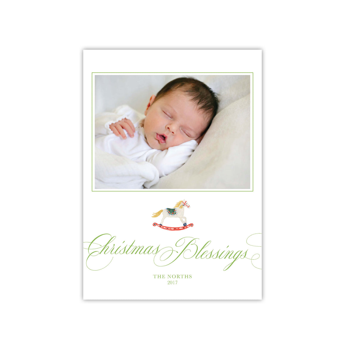 Blessings Rocking Horse Holiday Card
