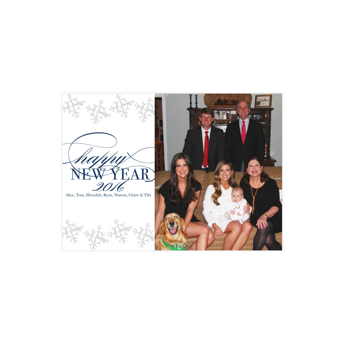 Happy New Year Snowflakes Holiday Card