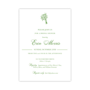 Green Bouquet Shower Invitation