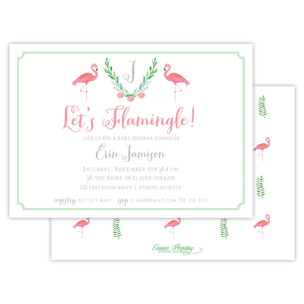 Let's Flamingle Baby Shower Invitation