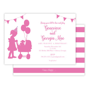 Stroller and Balloons Birthday Party Invitation