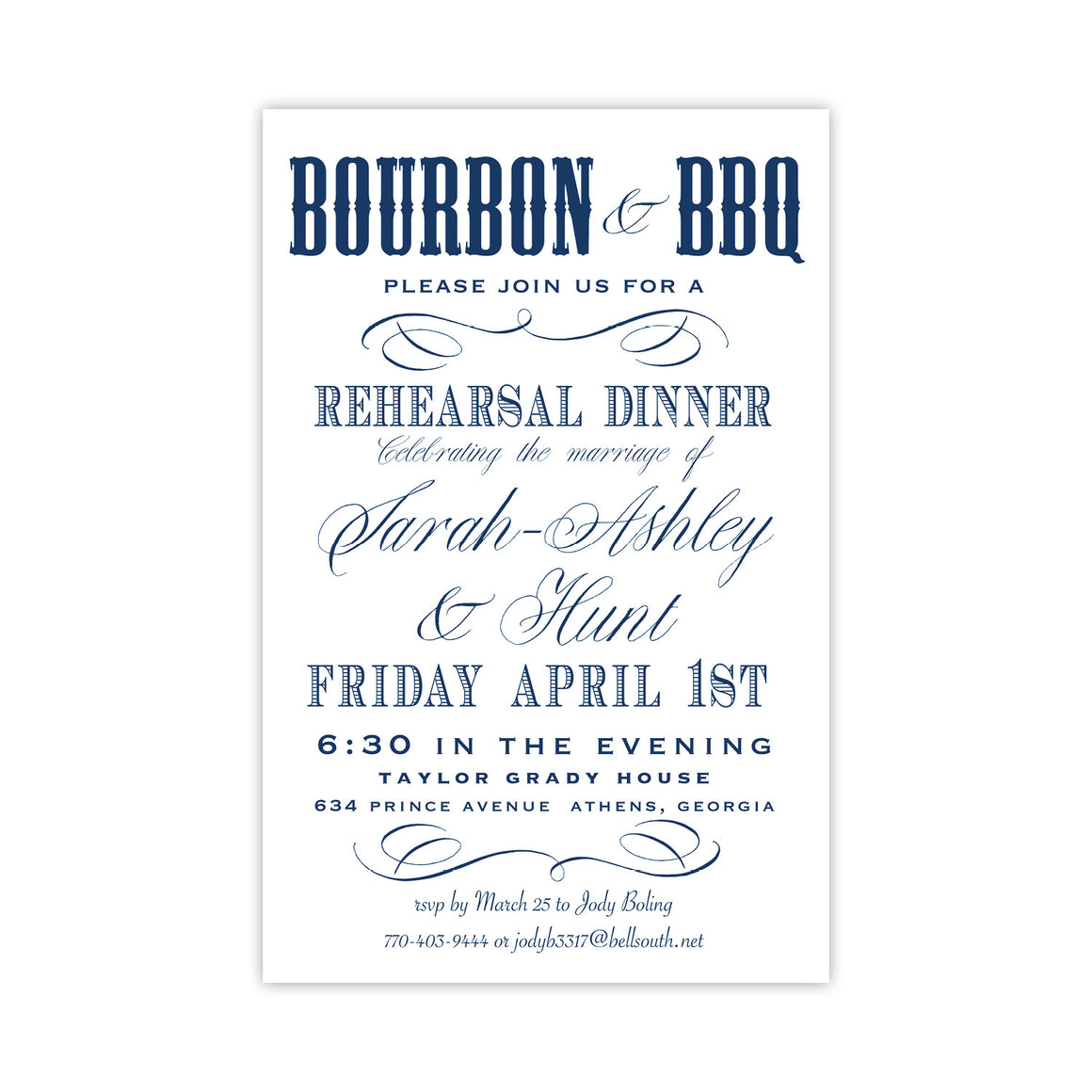 Bourbon and BBQ Rehearsal Dinner Invitation