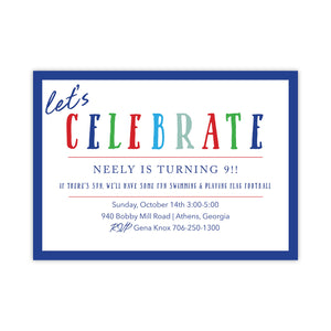 CELEBRATE Birthday Party Invitation