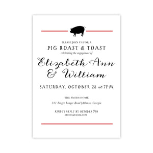 Pig Roast and Toast Engagement Invitation