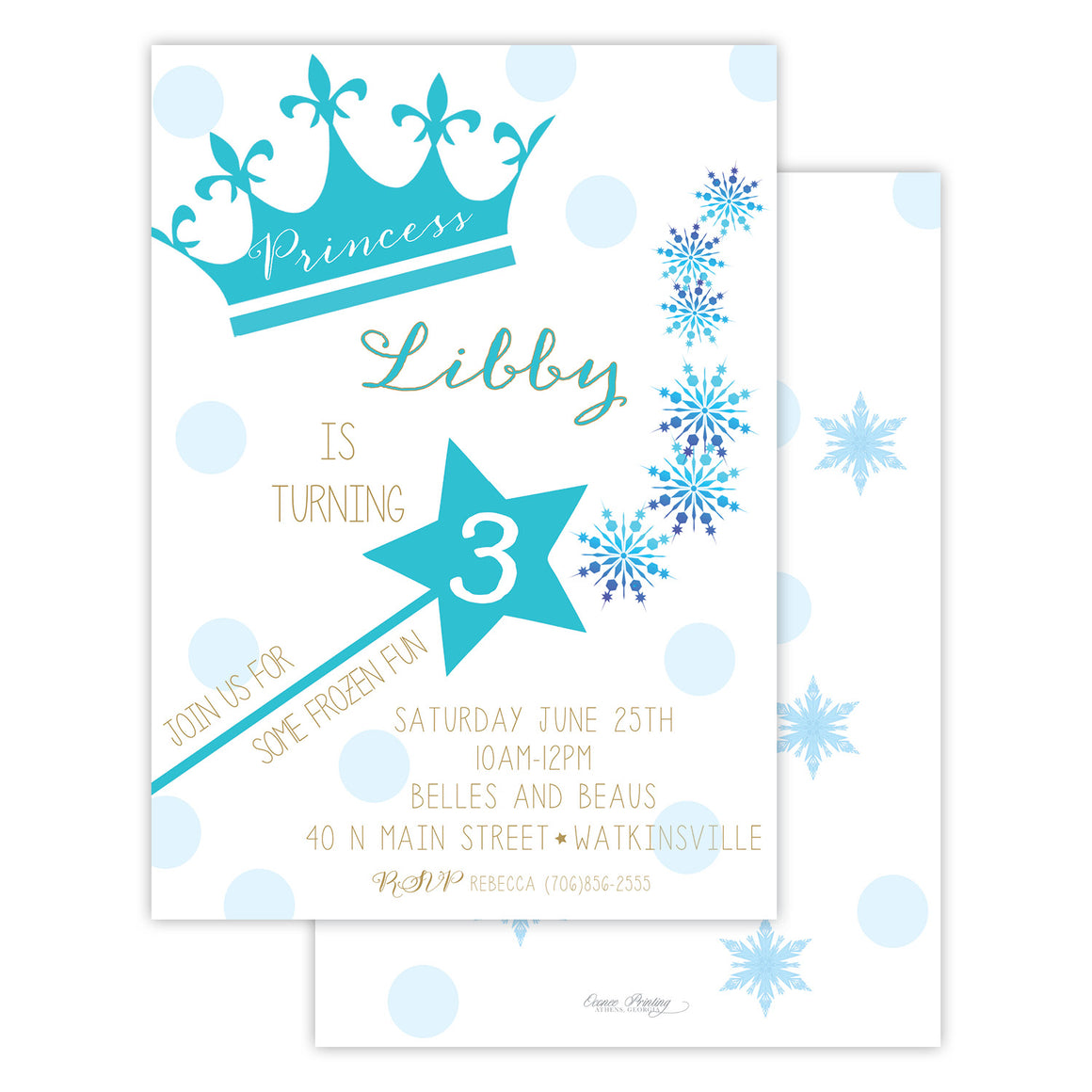 Frozen Princess Birthday Party Invitation