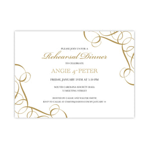 Golden Swirls Rehearsal Dinner Invitation