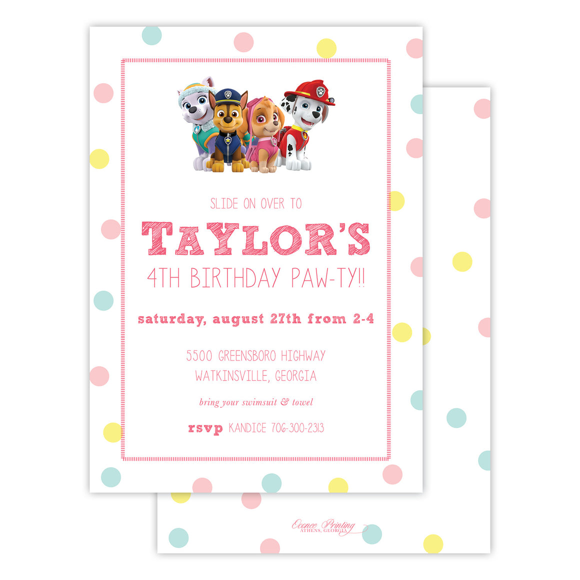 Polka Dots Birthday Party Invitation