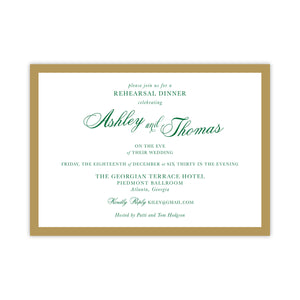 Gold and Green Rehearsal Dinner Invitation