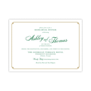 Formal Gold and Green Rehearsal Dinner Invitation