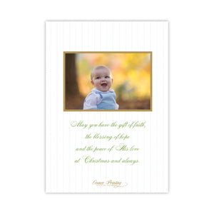 Gold and Blue Merry Christmas Holiday Card