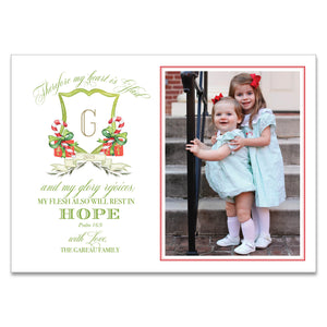 Candy Cane Monogram Holiday Card