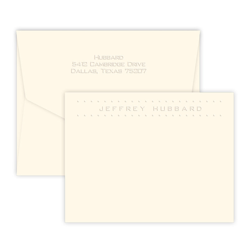 Embossed Dotted Full Name Note Cards