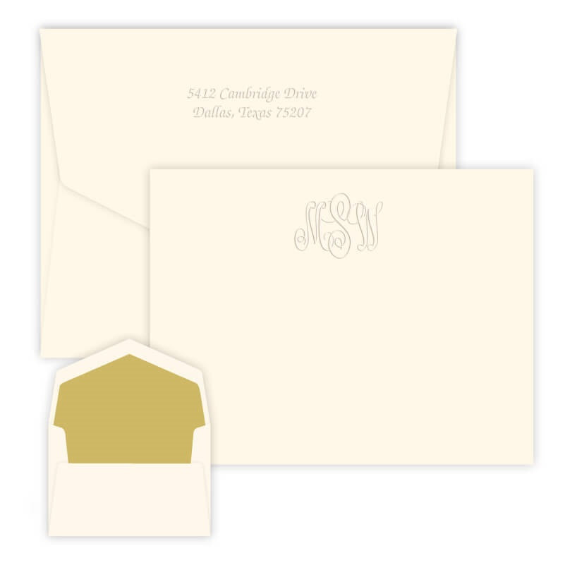 Embossed Traditional Monogram Note Cards