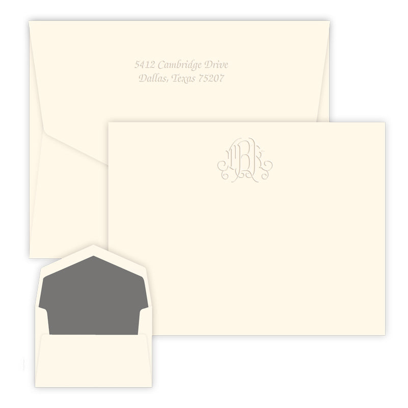 Embossed Modern Monogram Note Cards