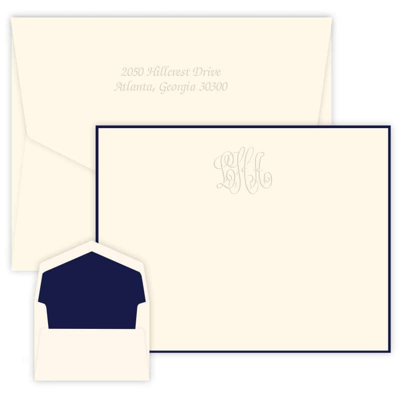 Bordered Embossed Monogram Note Cards