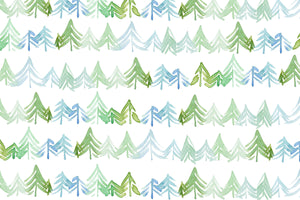 Watercolor Blue Green Trees Placemats