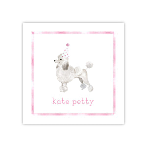 Poodle Party Hat Enclosure Card
