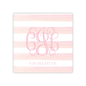 Pink Stripe Monogram Enclosure Card