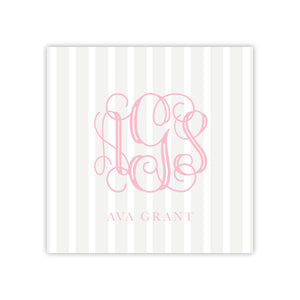 Taupe Stripe Monogram Enclosure Card